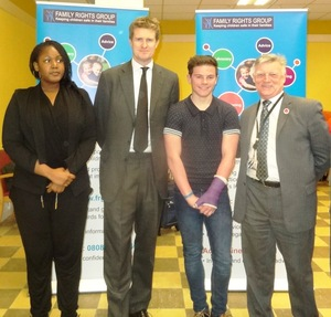 Rebecca and Bradley, young people raised by their kinship carers, with Tristram Hunt MP and Steve McCabe MP